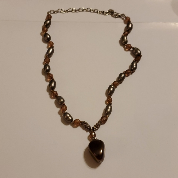 """LC Bronze and Silver color stones 20"""""""